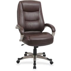 "Lorell Westlake Series High Back Executive Chair - Leather Saddle Seat - Polyurethane Black Frame - Saddle - 21"" Seat Width x 20.50"" Seat Depth - 26.5"" Width x 28.5"" Depth x 46.8"" Height"