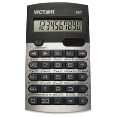 "Victor 907 Metric Conversion Calculator - 20 Functions - 10 Digits - Battery/Solar Powered - 0.4"" x 2.6"" x 4.5"" - Black, Silver - 1 Each"