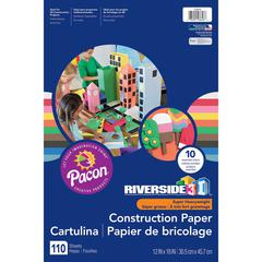 """Riverside 3D Construction Paper - Project, Modeling - 12"""" x 18"""" - 110 / Pack - Black, Blue, Brown, Green, Light Blue, Orange, Pink, Red, White, Yellow"""