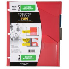 "Five Star Flex 3 Tabs Divider Notepockets - 11.5"" Height x 9.8"" Width x 0.1"" Depth - 9 3/4"" x 11 1/2"" Sheet - Ring Binder - Rectangular - Assorted - 3 / Pack"