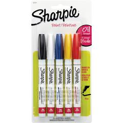 Sharpie Oil-Based Paint Marker - Fine Point - Fine Marker Point Type - Assorted Oil Based Ink - 5 / Pack