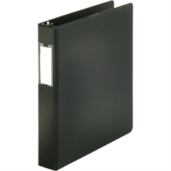 "Business Source 3-Ring Binders w/ Label Holders - 1 1/2"" Binder Capacity - Letter - 8 1/2"" x 11"" Sheet Size - 3 x Round Ring Fastener(s) - Vinyl - Black - Recycled - 1 Each"