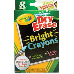 Crayola Odorless Dry Erase Crayons - Bright Assorted - 8 / Box
