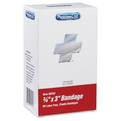 """PhysiciansCare Plastic Bandages - 0.75"""" x 3"""" - 50/Box - Red"""