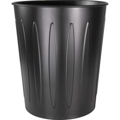 "Genuine Joe Steel 6 Gallon Fire-safe Trash Can - 6 gal Capacity - 14"" Height x 13"" Depth - Metal, Steel - Black"