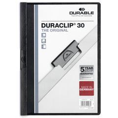 """DURABLE® DURACLIP® Report Cover - Letter Size 8 1/2"""" x 11"""" - 30 Sheet Capacity - Punchless - Vinyl - Black"""
