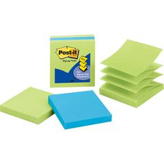 "Post-it® Pop-up Notes, 3"" X 3"" Jaipur Collection - 300 - 3"" x 3"" - Square - 100 Sheets per Pad - Unruled - Limeade, Electric Blue - Paper - Fanfold, Pop-up - 3 Pad"