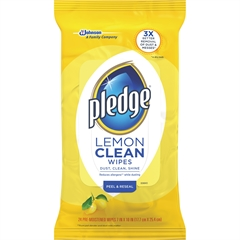 "Pledge Lemon Furniture Polish Wipes - Wipe - Lemon Scent - 7"" Width x 10"" LengthPouch - 24 / Pack - Yellow"