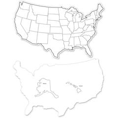 "ChenilleKraft Large USA Maps Whiteboard - 12"" (1 ft) Width x 8"" (0.7 ft) Height - White Surface - Rectangle - 10 / Pack"