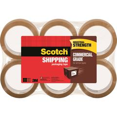 "Scotch® Commercial Grade Shipping Packaging Tape, 1.88"" x 54.60 yds - 1.88"" Width x 54.60 yd Length - 3"" Core - Polypropylene - Heavy Duty - 6 / Pack - Tan"