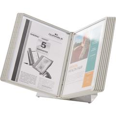 DURABLE® VARIO® Antimicrobial Desktop Reference Display System - Desktop - 10 Double Sided Panels - Letter Size - Antimicrobial Polypropylene Sleeves - Anti-Reflective/Non-Glare - Gray