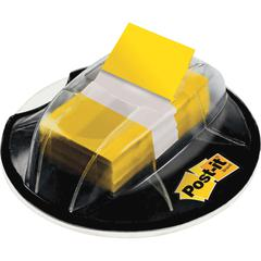 "Flags in Desk Grip Dispenser, Yellow, 1 in. Wide - 200 - 1"" x 1.75"" - Rectangle - Unruled - Yellow - Removable, Self-adhesive - 200 / Dispenser"