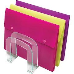 Lorell Acrylic Transp Green Edge Large File Sorter - Desktop - Clear, Green - Acrylic - 1Each