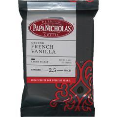 PapaNicholas Coffee French Vanilla Ground Coffee Ground - Regular - French Vanilla, Arabica - Light/Mild - 2.5 oz - 18 / Carton