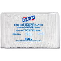 "Genuine Joe Quad-fold Square Beverage Napkins - 1 Ply - 9.50"" x 9.50"" - White - Absorbent, Embossed, Quad-fold - For Beverage - 500 Quantity Per Pack - 4000 / Carton"