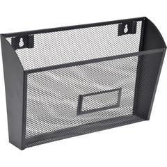 "Lorell Black Mesh Wire Wall Pocket - 6.6"" Height x 12.6"" Width x 4.8"" Depth - Wall Mountable - Black - 1Each"