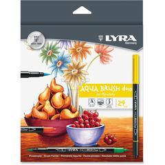 LYRA Lyra Aqua Brush Duo Set - Fine, Broad Point Type - Brush Point Style - Assorted Water Based Ink - 24 / Set