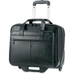 "Samsonite Carrying Case for 15.6"" Notebook, Tablet, Digital Text Reader, Cellular Phone, Business Card - Black - Genuine Leather - Handle"