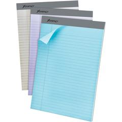 """Ampad Pastel Legal - ruled Perforated Pads - Letter - 50 Sheets - 0.34"""" Ruled - 15 lb Basis Weight - 8 1/2"""" x 11"""" - Micro Perforated - 6 / Pack"""