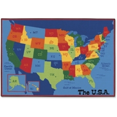 "Carpets for Kids Value Line USA Map Design Rug - 108"" Length x 72"" Width - Rectangle"