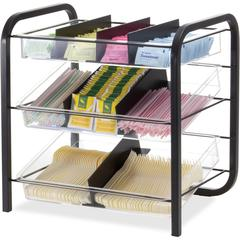 "BreakCentral Giant Condiment Organizer - 9 Compartment(s) - 15.8"" Height x 15.6"" Width x 11.3"" Depth - Black, Clear - Metal - 1Each"
