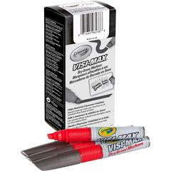 Crayola Visi-Max Dry-Erase Markers - Bold Marker Point Type - Chisel Marker Point Style - Red - 1 Dozen