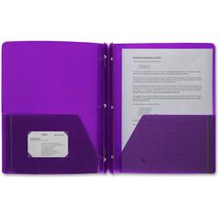 "Business Source 3-Hole Punched Poly Portfolios - Letter - 8 1/2"" x 11"" Sheet Size - 50 Sheet Capacity - 3 x Prong Fastener(s) - 2 Pocket(s) - Poly - Purple - 1 Each"