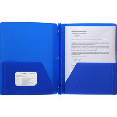 "Business Source 3-Hole Punched Poly Portfolios - Letter - 8 1/2"" x 11"" Sheet Size - 50 Sheet Capacity - 3 x Prong Fastener(s) - 2 Pocket(s) - Poly - Blue - 1 Each"