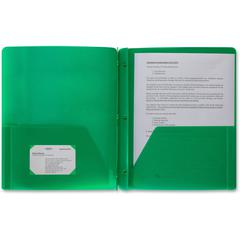 "Business Source 3-Hole Punched Poly Portfolios - Letter - 8 1/2"" x 11"" Sheet Size - 50 Sheet Capacity - 3 x Prong Fastener(s) - 2 Pocket(s) - Poly - Green - 1 Each"