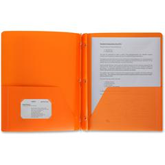 "Business Source 3-Hole Punched Poly Portfolios - Letter - 8 1/2"" x 11"" Sheet Size - 50 Sheet Capacity - 3 x Prong Fastener(s) - 2 Pocket(s) - Poly - Orange - 1 Each"