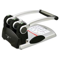 Sparco Manual 3-Hole Punch - 3 Punch Head(s) - 300 Sheet Capacity - Black, Silver