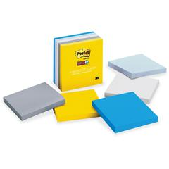 "Post-it® Super Sticky Notes, 3"" x 3"" New York Color Collection - 450 x Assorted - 3"" x 3"" - Square - 90 Sheets per Pad - Unruled - Assorted - Paper - Self-stick, Recyclable - 5 Pad"