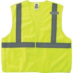 GloWear Lime Econo Breakaway Vest - Reflective, Machine Washable, Lightweight, Hook & Loop Closure, Pocket - Small/Medium Size - Polyester Mesh - Lime - 1 / Each