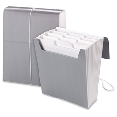 "Smead Organized Up® Vertical Expanding File - Letter - 8 1/2"" x 11"" Sheet Size - 12 Pocket(s) - 1/3 Tab Cut - Assorted Position Tab Location - 11 Divider(s) - Cool Gray - 1 Each"