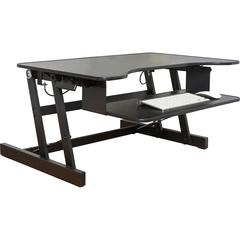"Lorell Adjustable Desk/Monitor Riser - 50 lb Load Capacity - 16"" Height x 32"" Width x 21.5"" Depth - Desktop - Black"