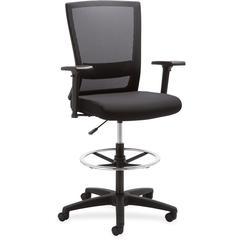 "Lorell Mesh Back Stool - Fabric Seat - 5-star Base - Black - 56"" Width x 28"" Depth x 26.1"" Height"