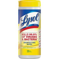 Lysol Lemon/Lime Disinfect Wipes - Wipe - Lemon, Lime Blossom Scent - 35 / Canister - 12 / Carton - White
