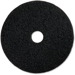 "Genuine Joe Black Floor Stripping Pad - 16"" Diameter - 5/Carton x 16"" Diameter x 1"" Thickness - Resin, Fiber - Black"