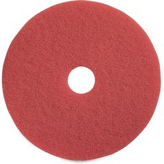 "Genuine Joe Red Buffing Floor Pad - 16"" Diameter - 5/Carton x 16"" Diameter x 1"" Thickness - Fiber - Red"