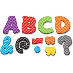 "Teacher Created Resources Chevron 3"" Magnetic Letters - Learning Theme/Subject - 67 (Letter) Shape - Magnetic - Chevron - Durable, Damage Resistant - 0.10"" Height x 3"" Width x 3"" Depth - Multicolor -"