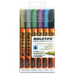 MOLOTOW One4All 2mm Acrylic Markers Metallic Set - 2 mm Point Size - Round Point Style - Refillable - Metallic Black, Metallic Blue, Metallic Pink, Metallic Silver, Metallic Gold, Metallic Light Green