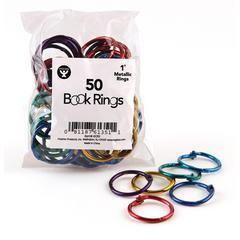 "Hygloss Book Rings - 1"" Maximum Capacity - Assorted - Steel, Metal - 50 / Pack"