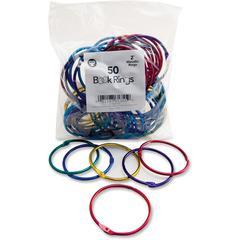 "Hygloss Book Rings - 2"" Maximum Capacity - Assorted - Steel, Metal - 50 / Pack"