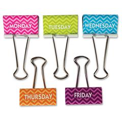 """Teacher Created Resources Chevron Large Binder Clips - Large - 1"""" Length x 2"""" Width - for Classroom, Office - Wipe-off, Write-on - 5 / Pack - Multi - Metal"""