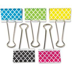 """Teacher Created Resources Moroccan Pattern Lg Bndr Clps - Large - 1"""" Length x 2"""" Width - for Classroom, Office - Write-on, Wipe-off - 5 / Pack - Multi - Metal"""