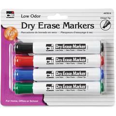 Chisel Tip Dry Erase Markers - Chisel Point Style - Black, Blue, Red, Green - 4 / Each