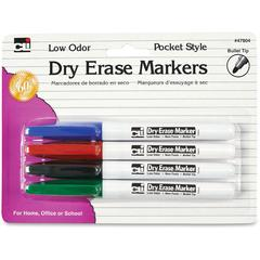 Low Odor Dry Erase Markers - Fine Point Type - Bullet Point Style - Black, Blue, Red, Green - 4 / Each