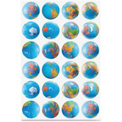 Hygloss Globes Stickers - Learning Theme/Subject - 72 (Globe) Shape - Self-adhesive - Assorted - 1 Pack