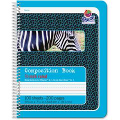 "Pacon Composition Book - 100 Sheets - 200 Pages - Spiral Bound - Short Way Ruled - 0.50"" Ruled 7 1/2"" x 9 3/4"" - Blue Cover - 1Each"