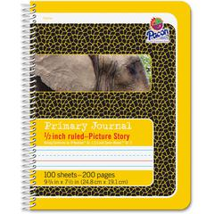 "Pacon Composition Book - 100 Sheets - 200 Pages - Spiral Bound - Short Way Ruled - 0.50"" Ruled - 4.50"" Picture Story Space 7 1/2"" x 9 3/4"" - Yellow Cover - 1Each"